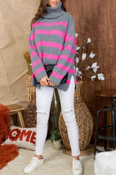 Pretty Little Things Stripe Turtleneck Sweater - Product List Image