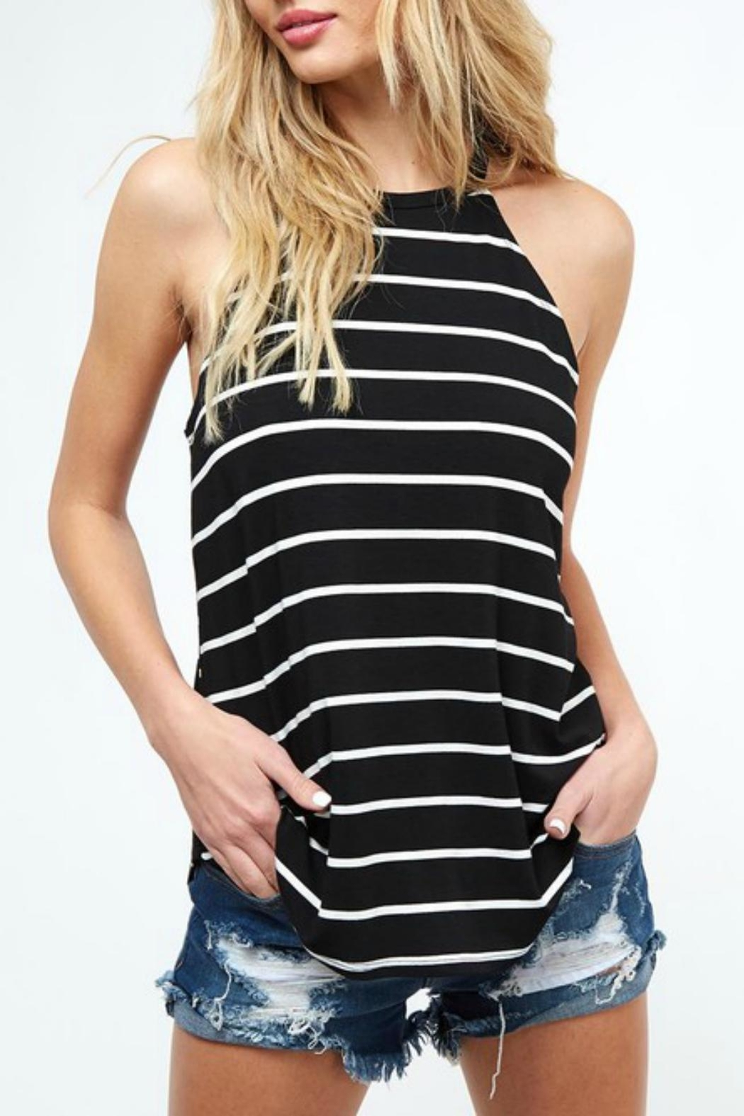 Pretty Little Things Striped Racerback Top - Front Cropped Image
