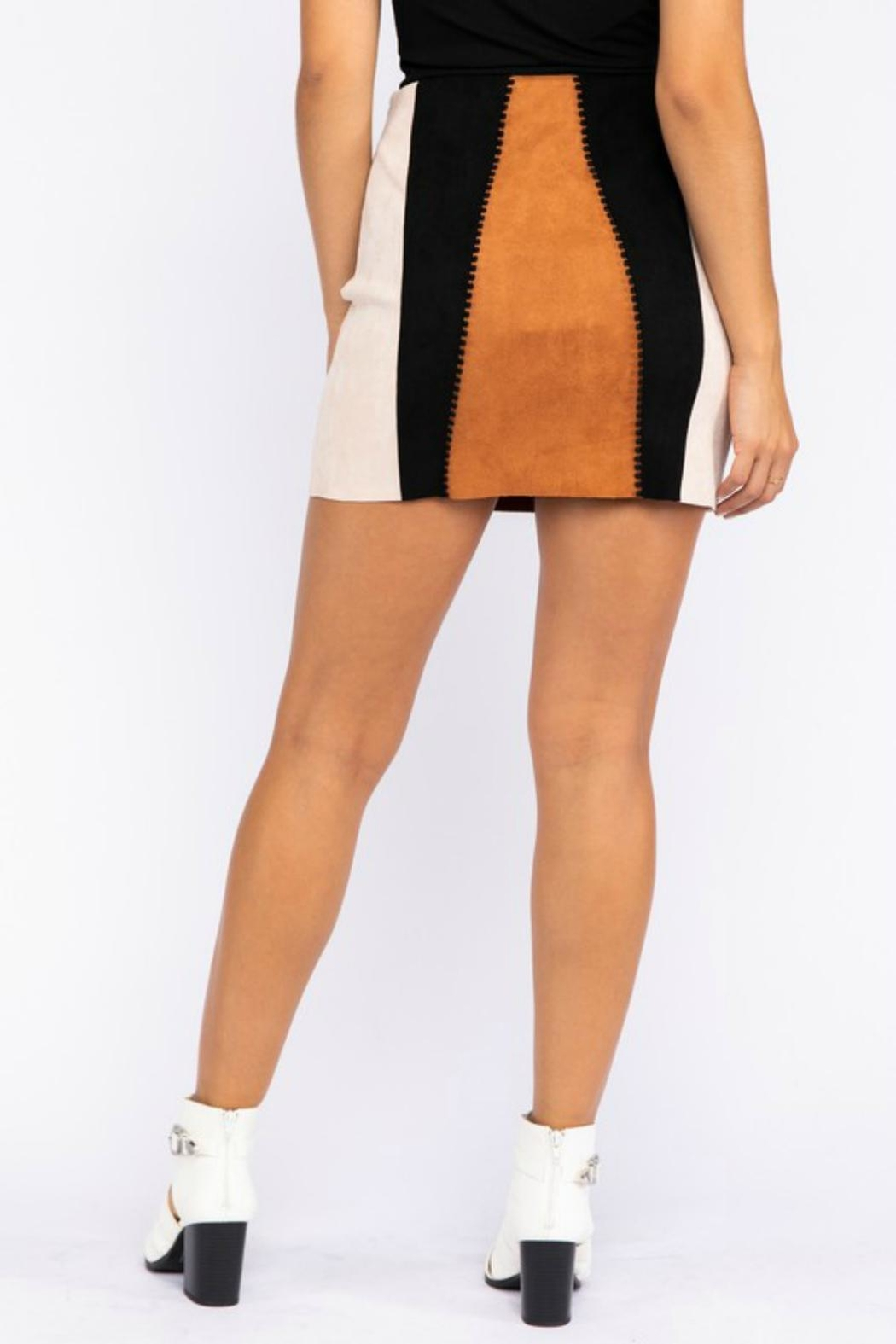 Pretty Little Things Suede Patchwork Skirt - Side Cropped Image