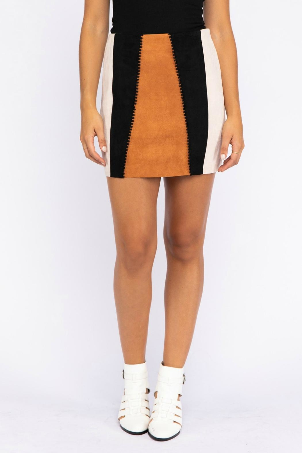 Pretty Little Things Suede Patchwork Skirt - Main Image
