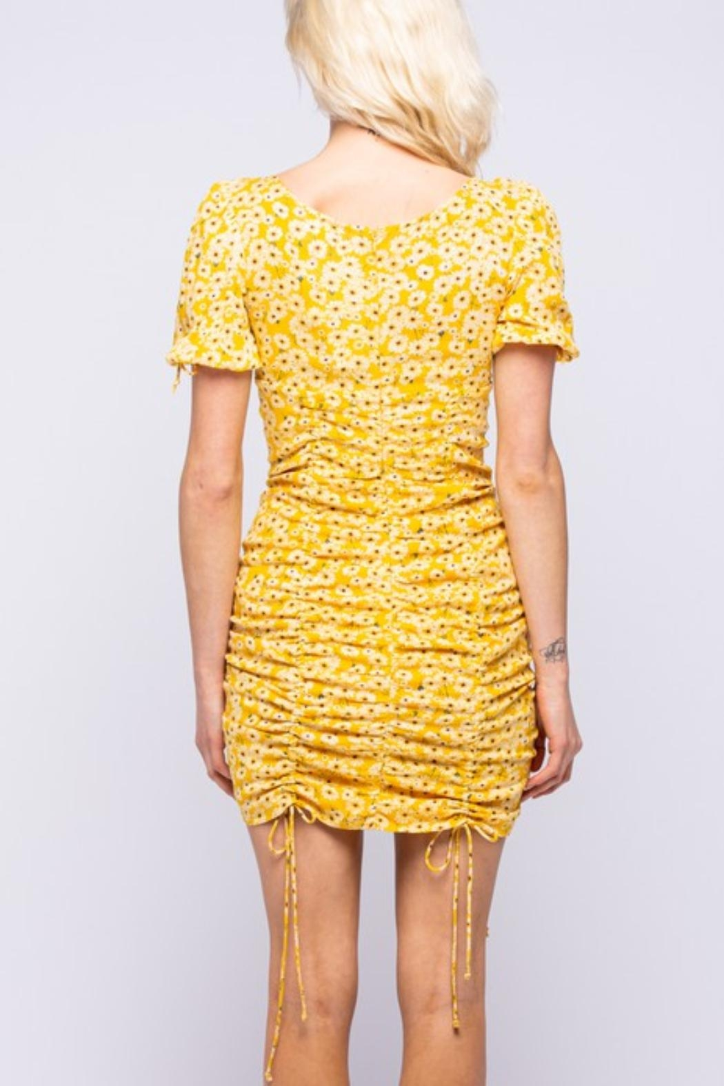 Pretty Little Things Sunflower Ruched Dress - Front Full Image