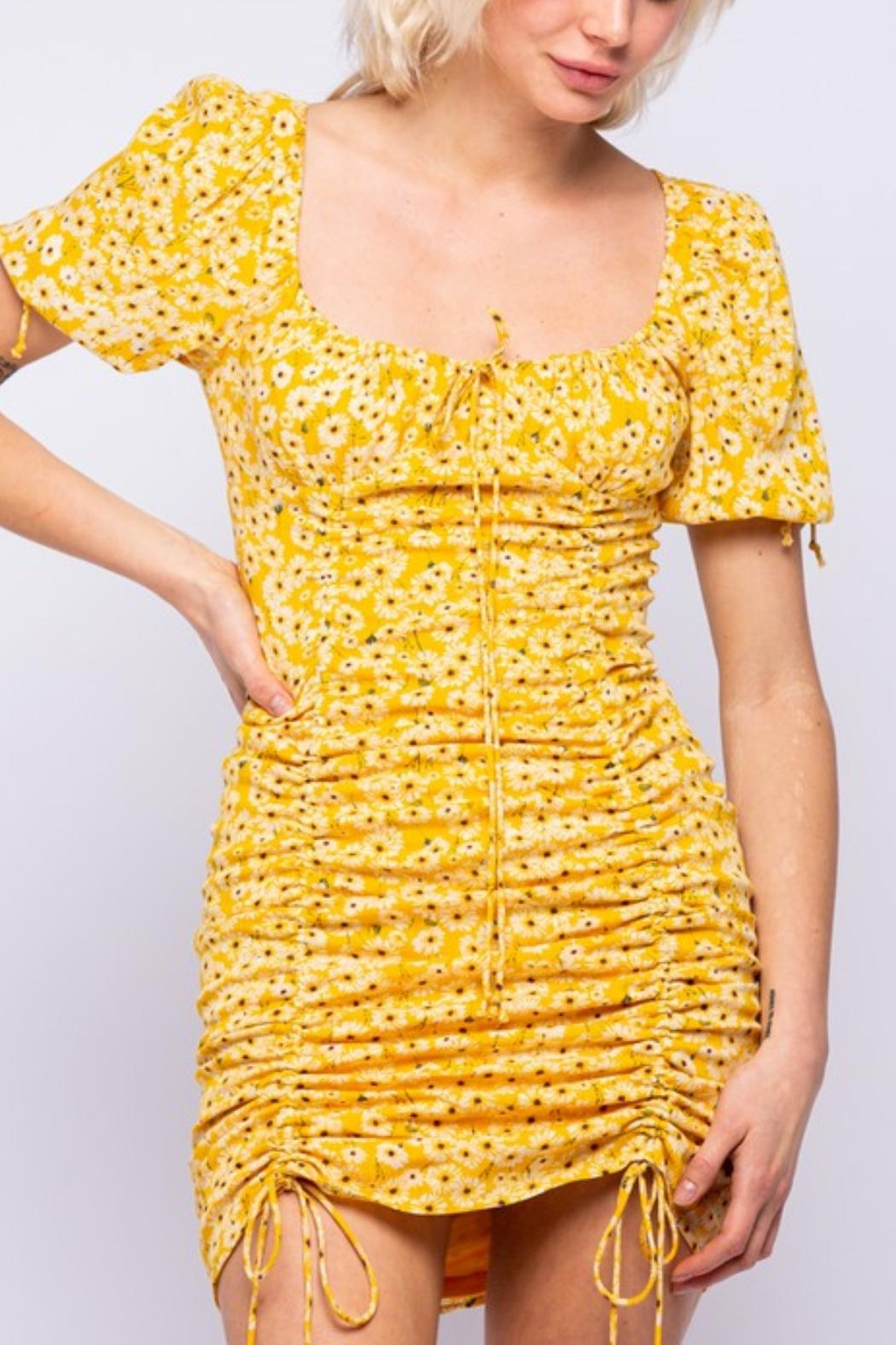 Pretty Little Things Sunflower Ruched Dress - Main Image