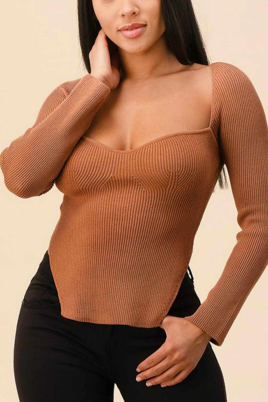 Pretty Little Things Sweetheart Ribbed Top - Front Cropped Image