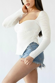Pretty Little Things Sweetheart Ribbed Top - Front full body