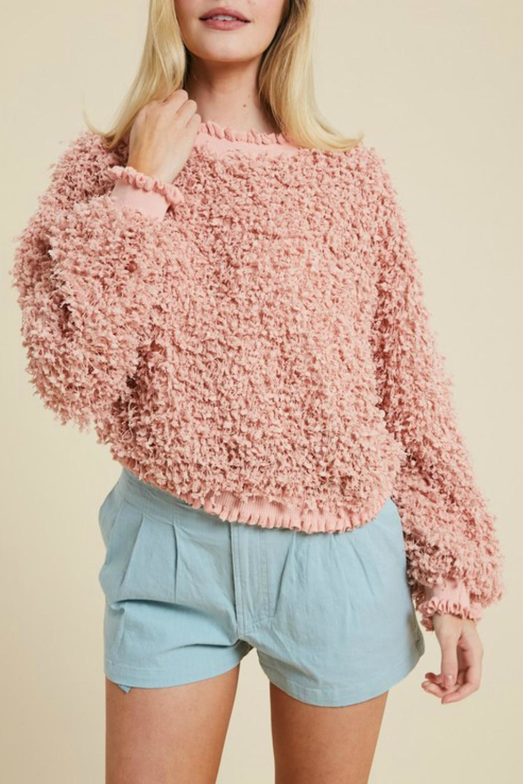 Pretty Little Things Textured Ruffle Sweater - Main Image