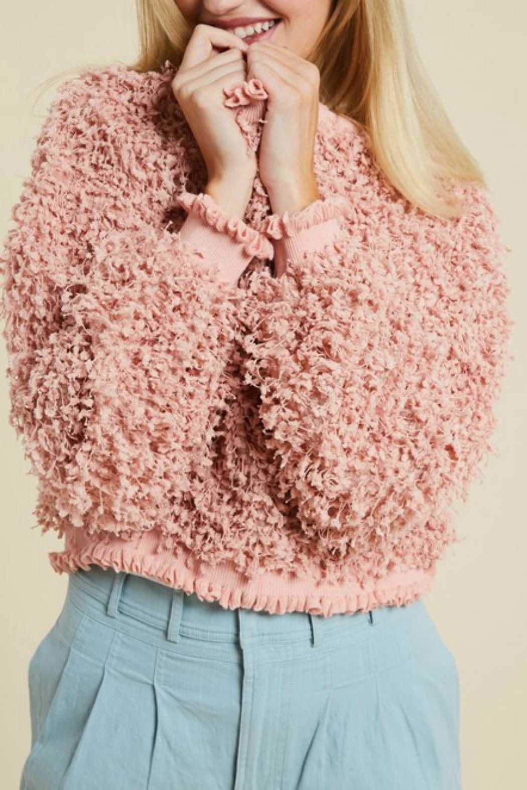 Pretty Little Things Textured Ruffle Sweater - Front Full Image