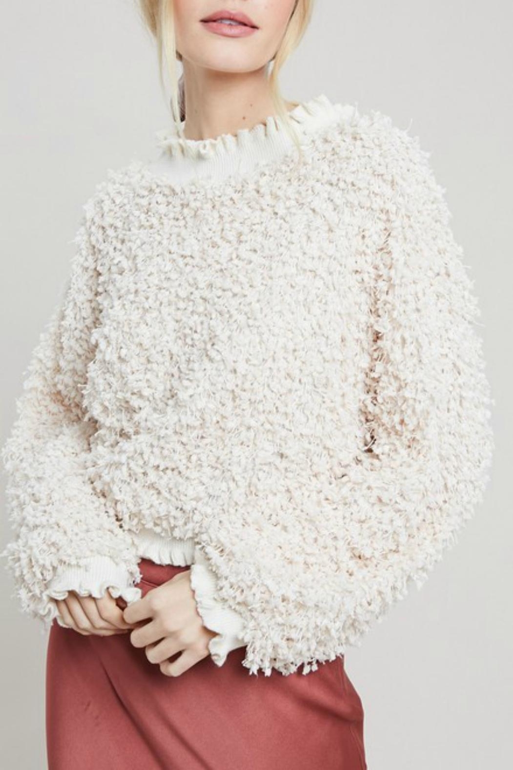 Pretty Little Things Textured Ruffle Sweater - Front Cropped Image