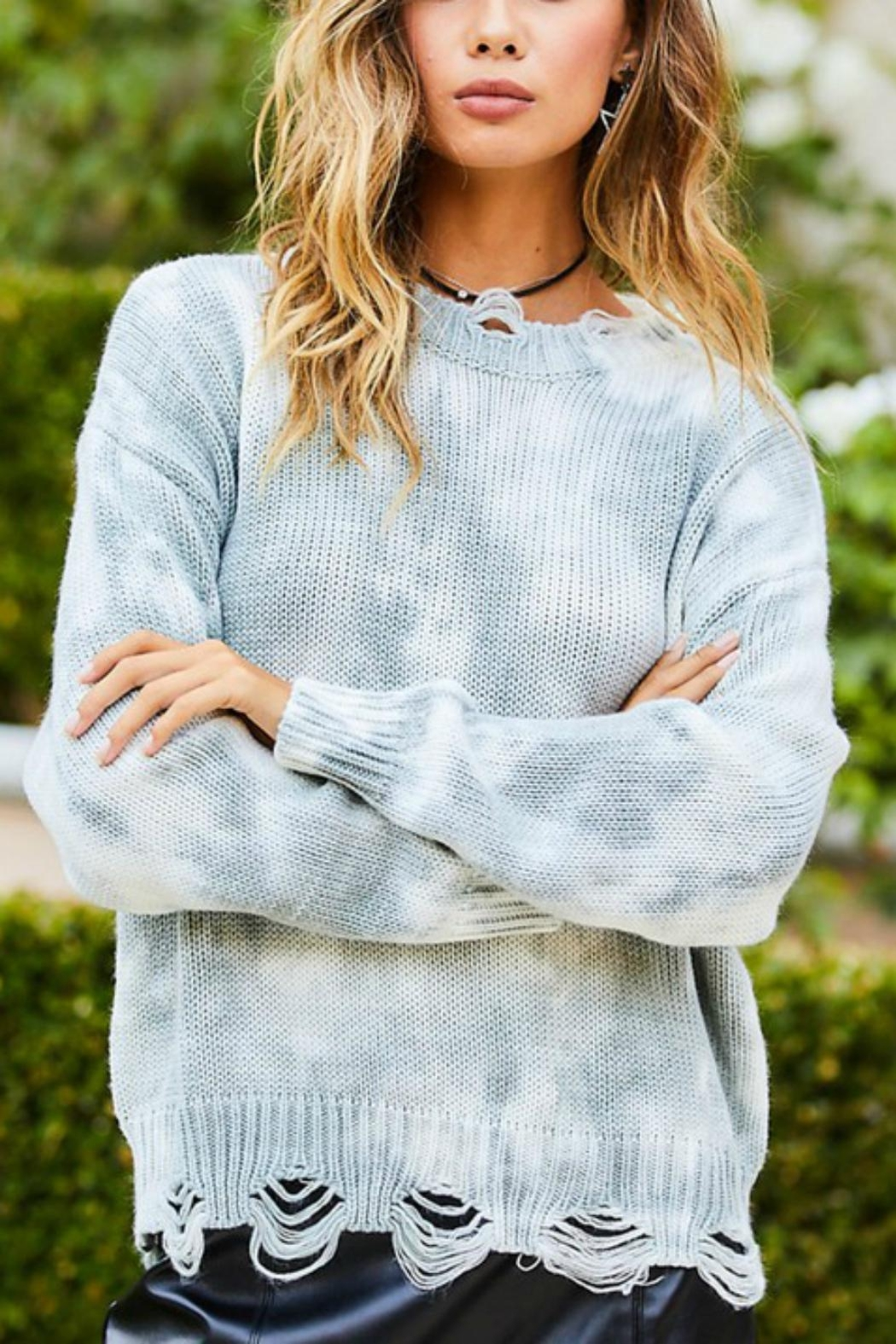 Pretty Little Things Tie Dye Sweater - Front Cropped Image