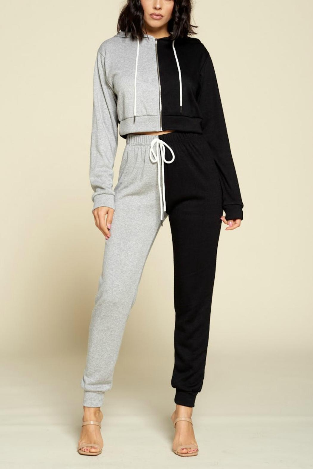 Pretty Little Things Two Tone Hoodie - Front Cropped Image