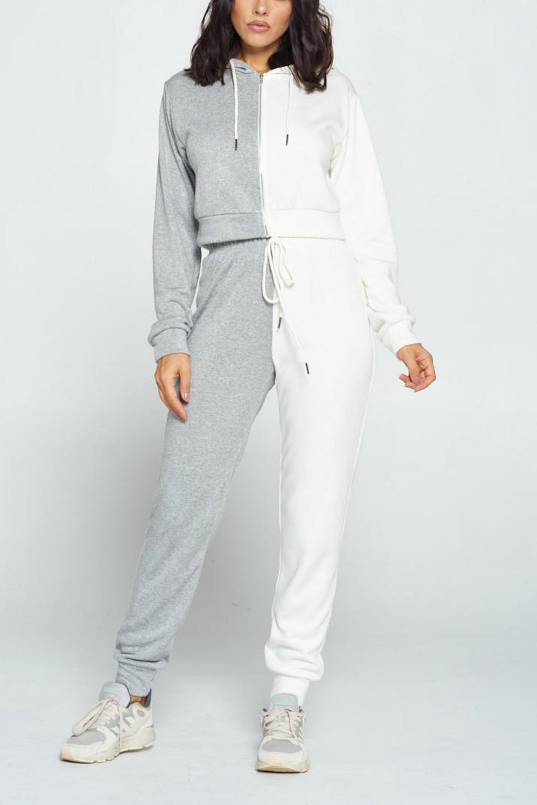 Pretty Little Things Two Tone Joggers - Front Cropped Image