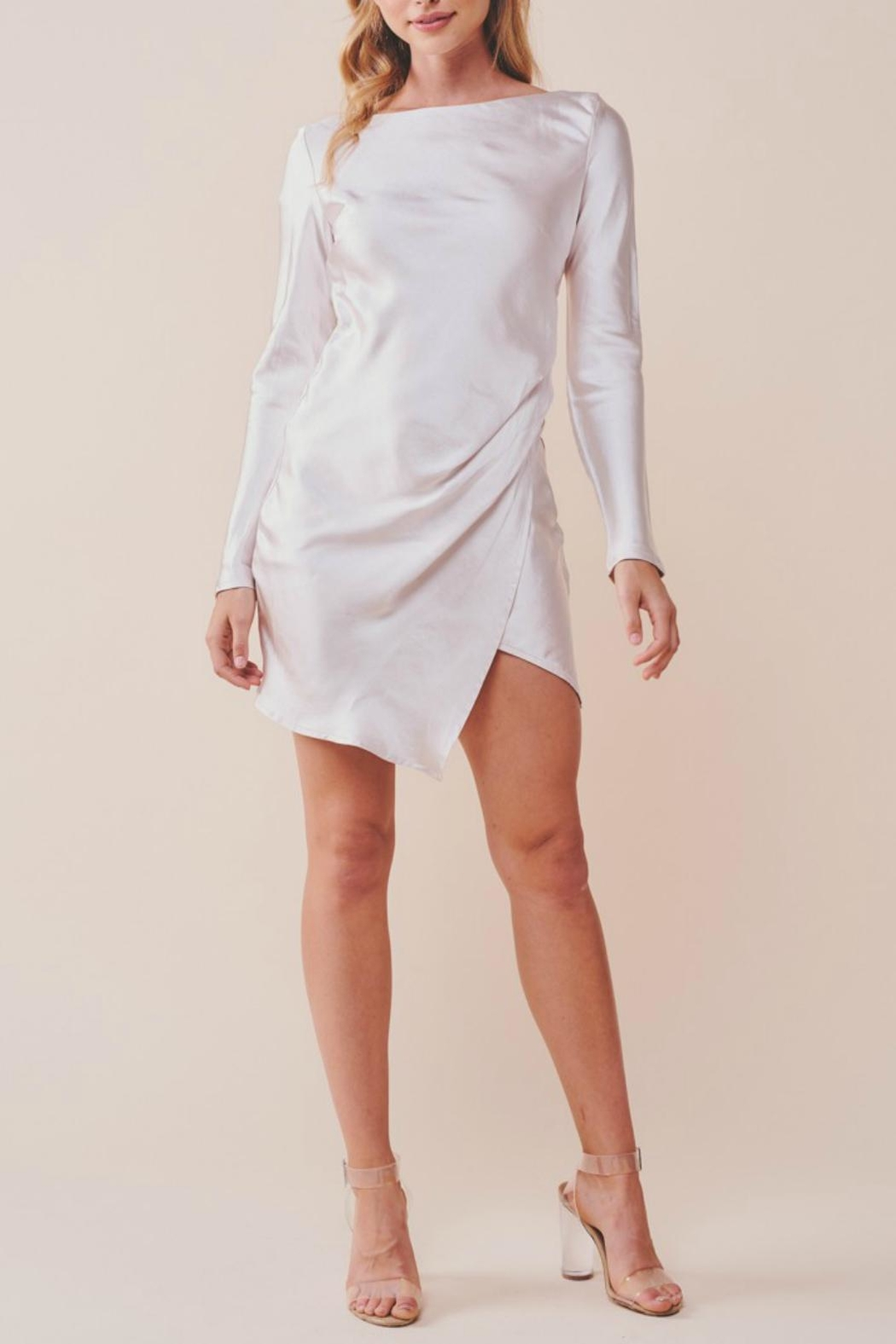 Pretty Little Things Unbalanced Satin Dress - Front Full Image