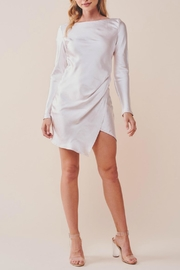 Pretty Little Things Unbalanced Satin Dress - Front full body