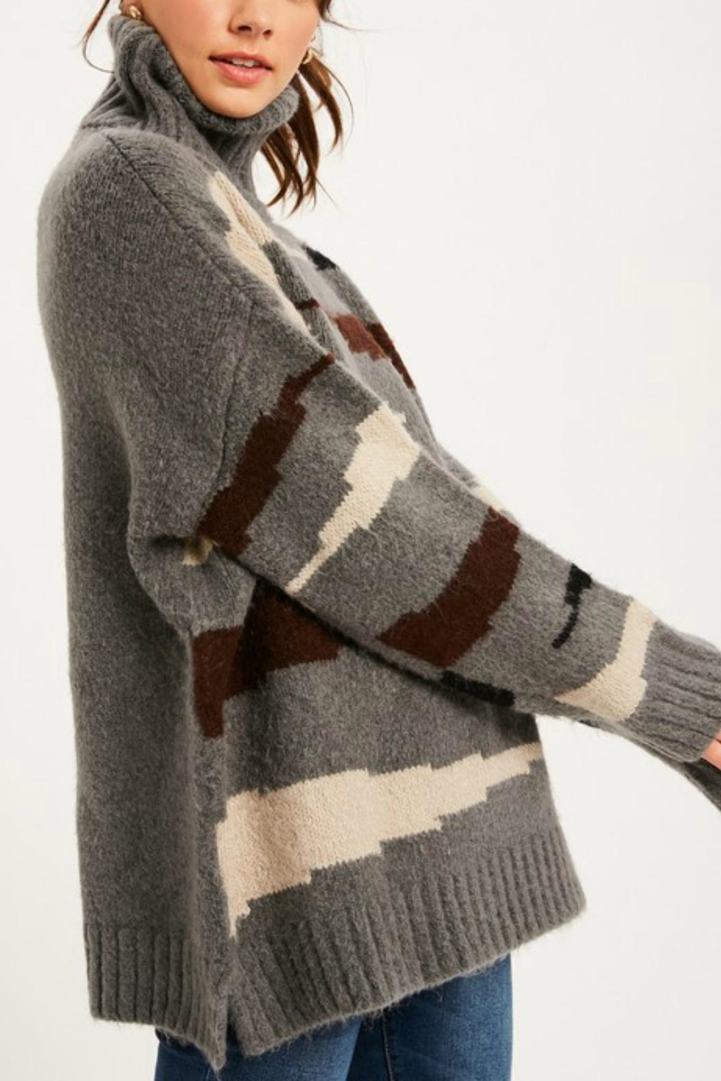 Pretty Little Things Western Turtkeneck Sweater - Front Full Image