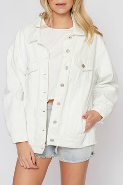 Pretty Little Things White Denim Jacket - Product List Image