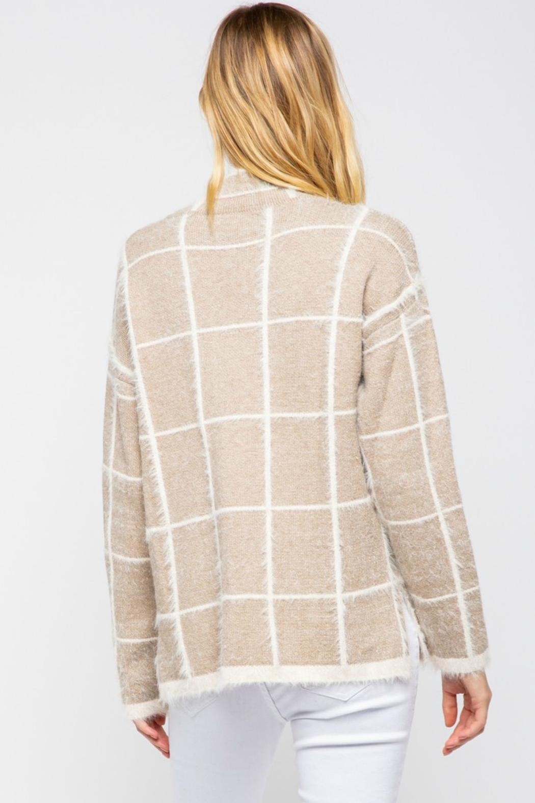 Pretty Little Things Windowpane Mohair Sweater - Front Full Image