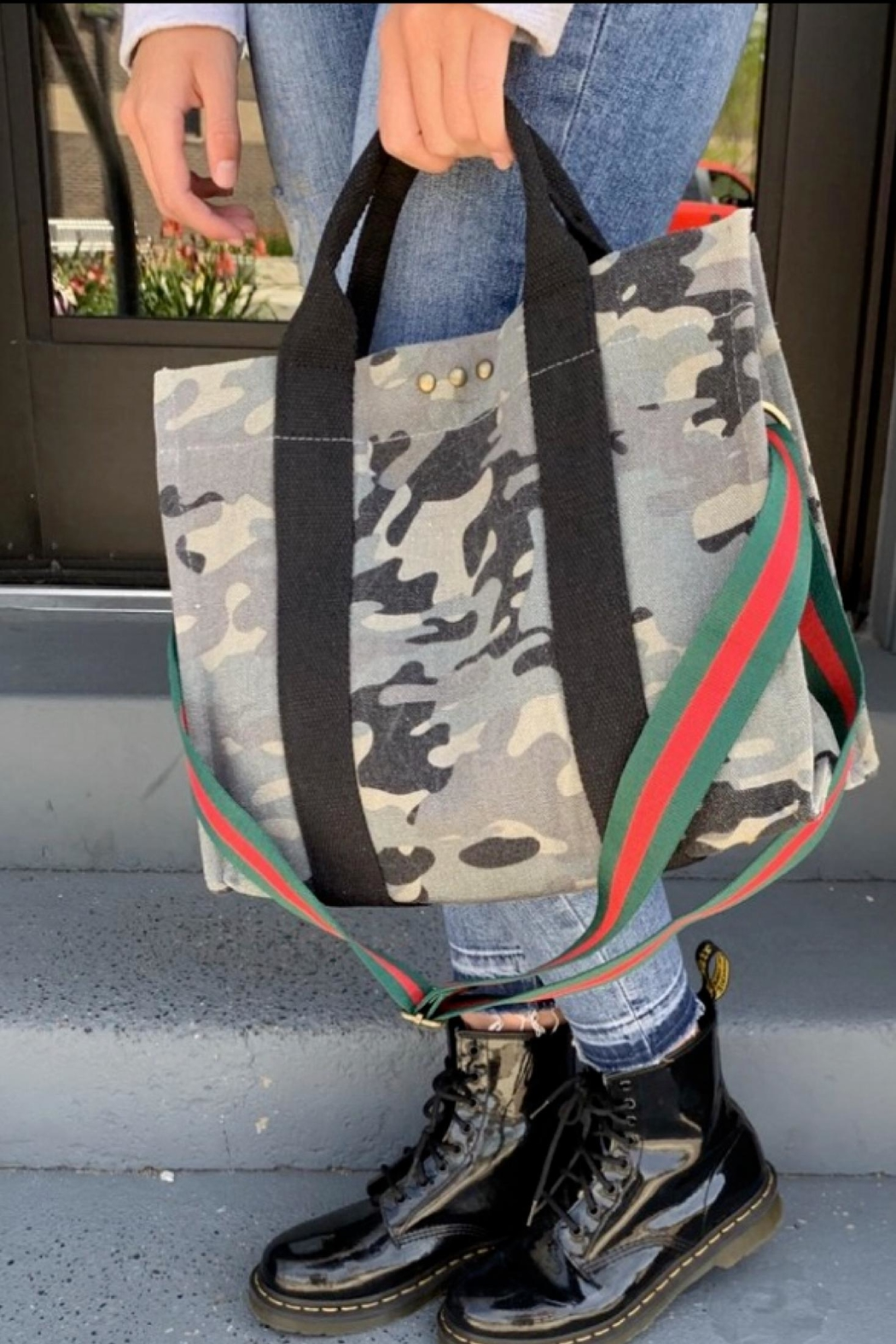 Pretty Simple Camo Crossbody Tote - Front Cropped Image