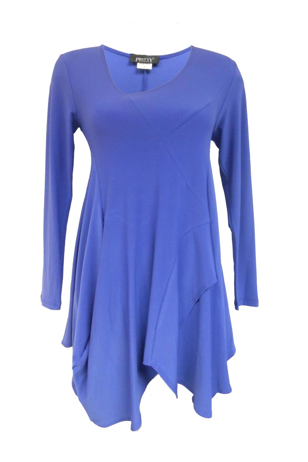 Pretty Woman Periwinkle Drape Tunic - Front Cropped Image