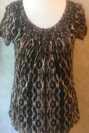 SPANNER Primitive print tunic top with beaded neckline and black tank - Product Mini Image