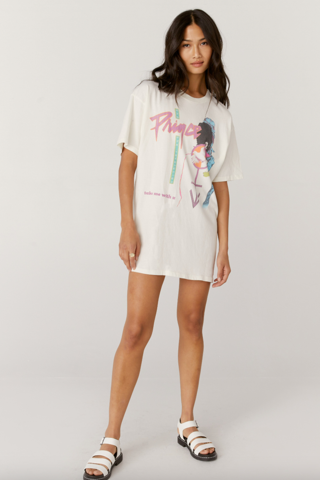 Daydreamer  Prince Baby I'm a Star T-shirt Dress - Front Cropped Image