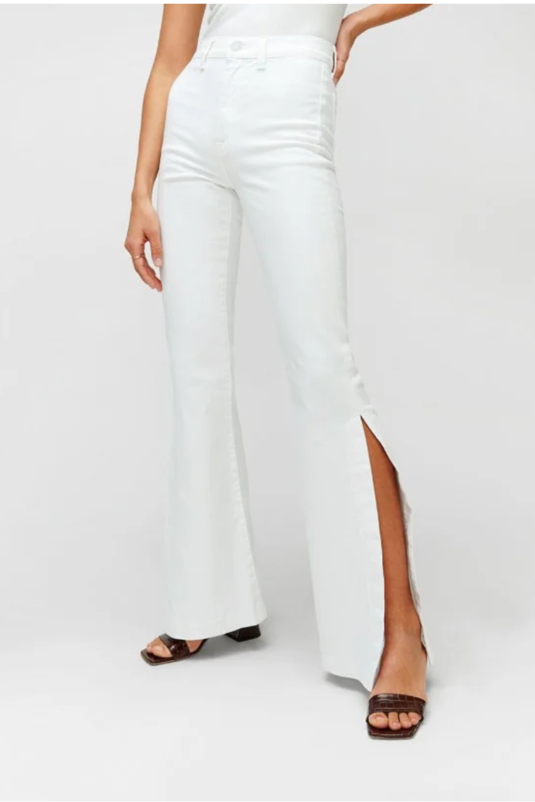 7 For all Mankind Prince High Slit Flare Jeans - Front Full Image
