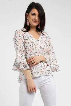 Shoptiques Product: Floral Bell-Sleeved Top