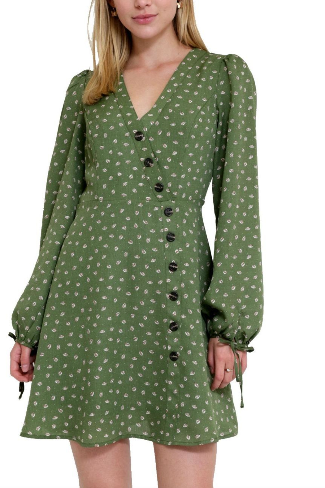 essue Print Button-Down Mini-Dress - Front Full Image