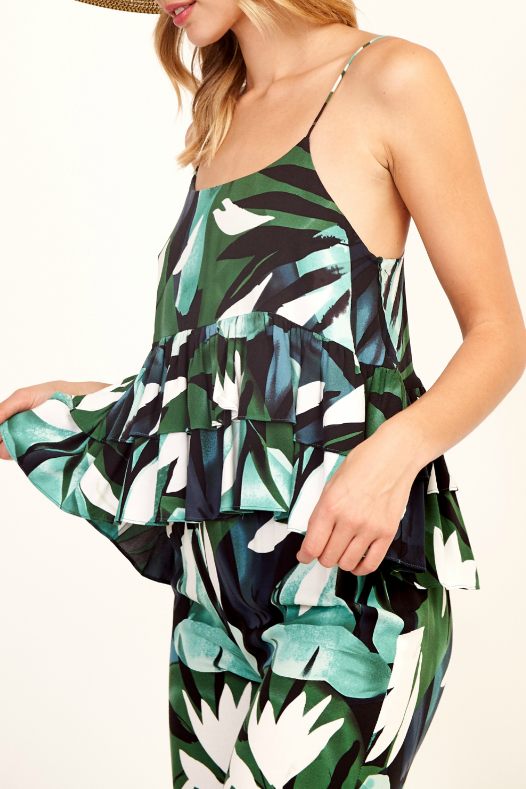 Olivaceous Print cami top - Front Full Image
