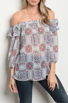 Peach Love California Print Cold Shoulder - Product List Image