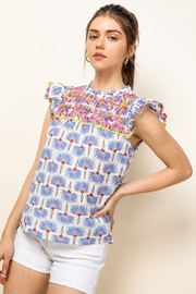 Thml Print Embroidered Top - Product Mini Image