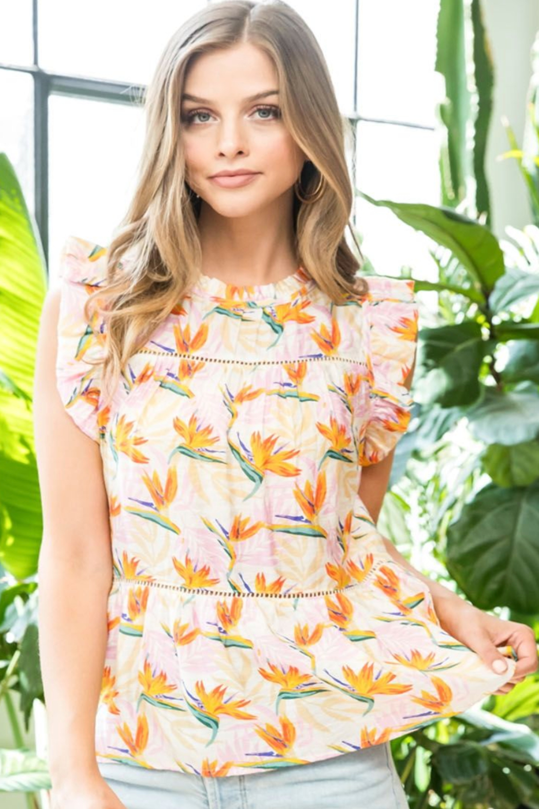 Thml Print Flutter Top - Side Cropped Image