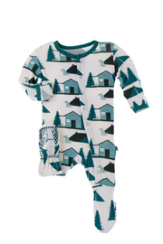 Kickee Pants Print Footie with Snaps - Product Mini Image