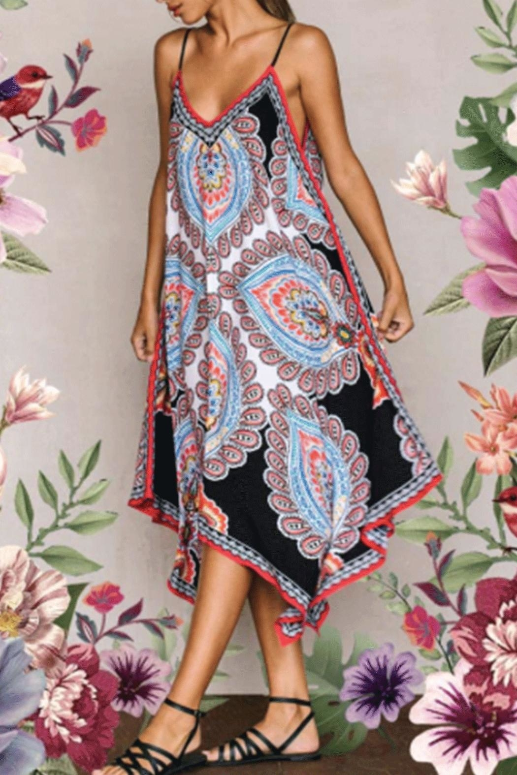 Flying Tomato Print Handkercheif Dress - Front Cropped Image