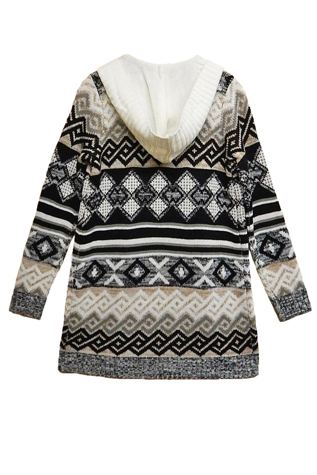 Absolutely Famous Print Hooded Cardigan - Main Image