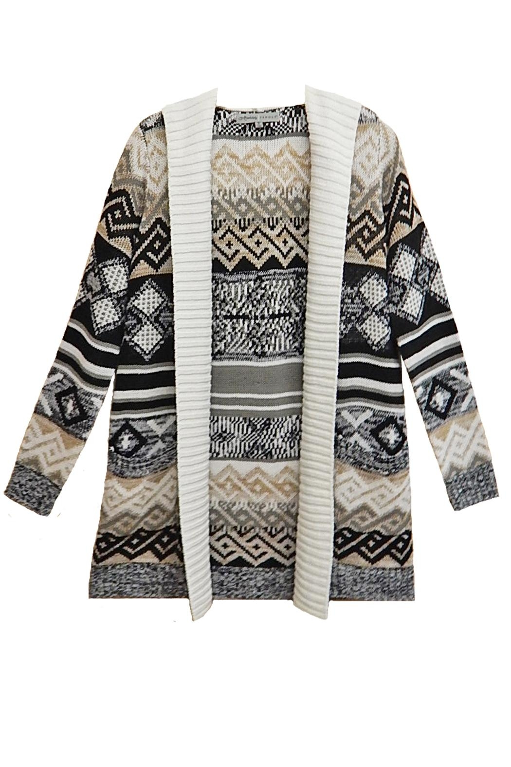 Absolutely Famous Print Hooded Cardigan - Front Cropped Image