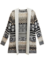 Absolutely Famous Print Hooded Cardigan - Front cropped