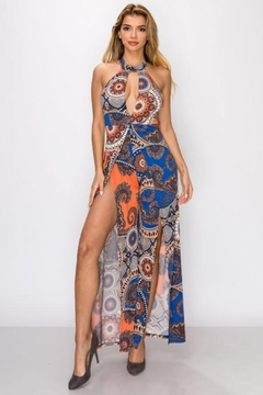 funky  PRINT JUMPSUIT WITH SLIT - Product List Image