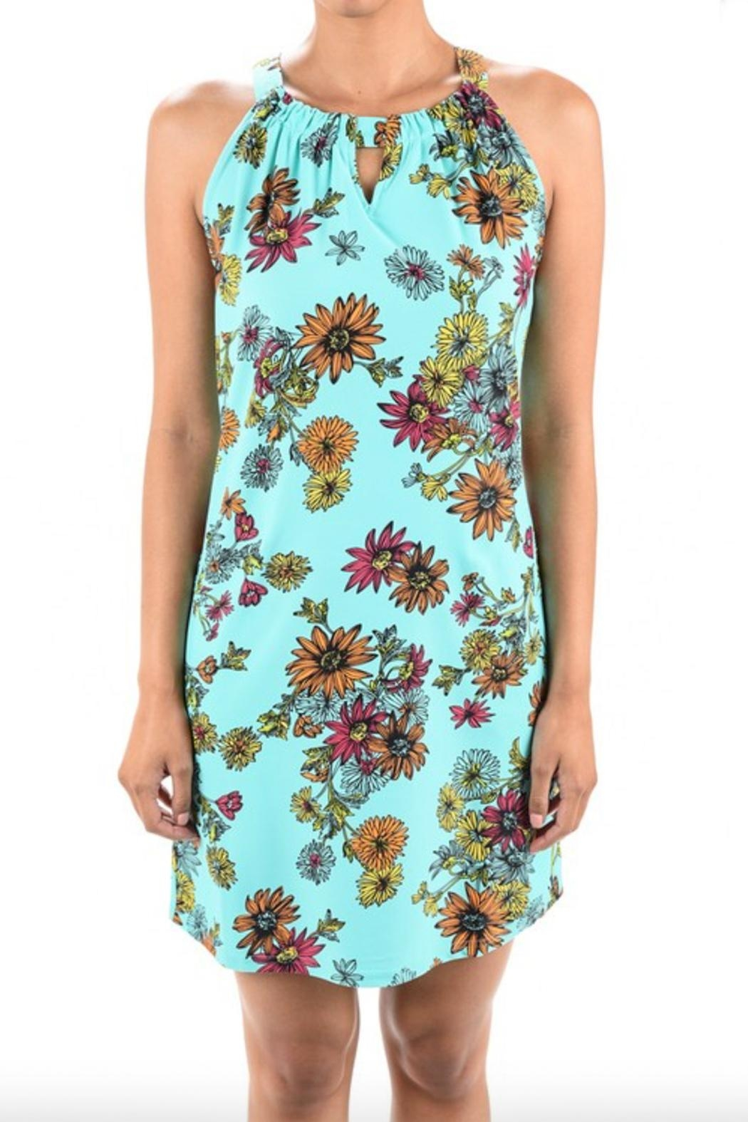 Aryeh Print Keyhole Dress - Side Cropped Image