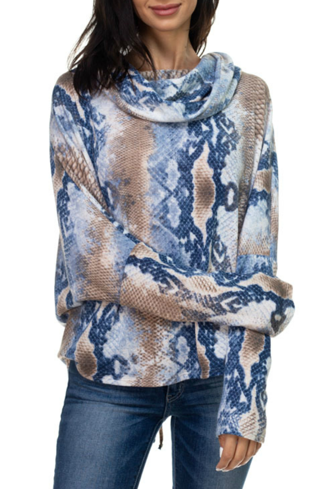 Ariella USA Print Lace-Up Back Cowl Neck Top - Front Cropped Image