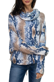 Ariella USA Print Lace-Up Back Cowl Neck Top - Front cropped