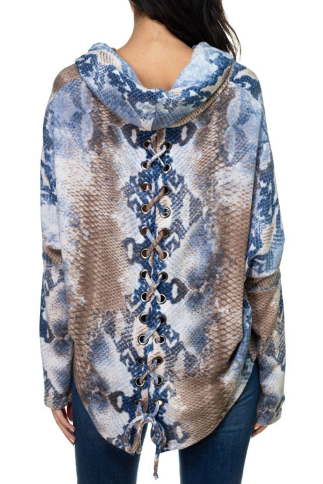 Ariella USA Print Lace-Up Back Cowl Neck Top - Front Full Image
