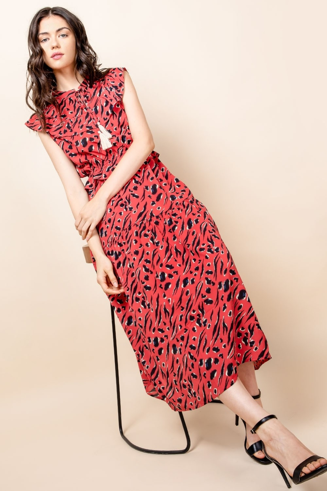 Thml Print Maxi Dress with Tassel - Side Cropped Image