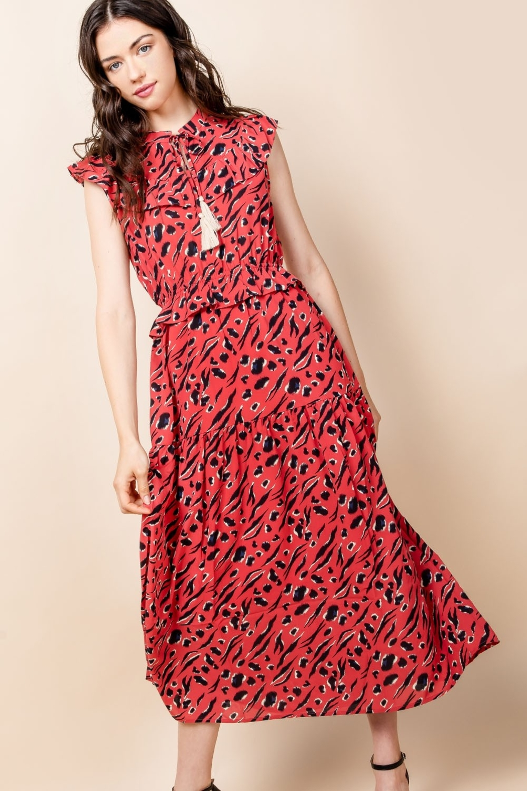 Thml Print Maxi Dress with Tassel - Front Cropped Image