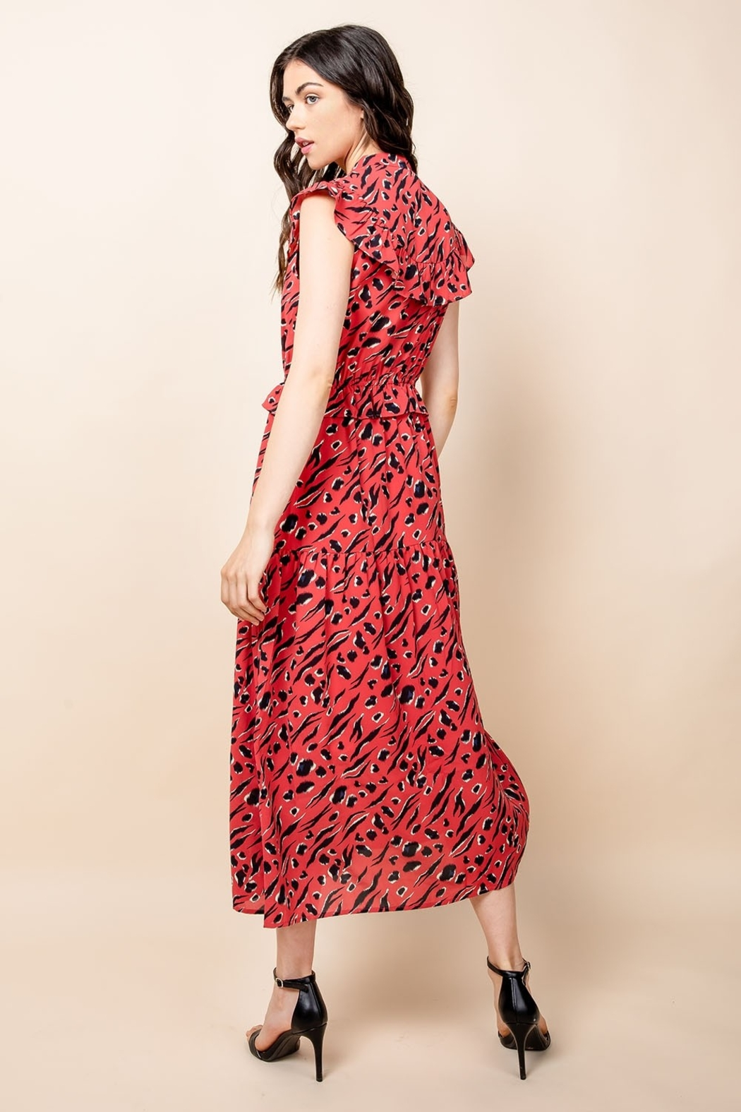 Thml Print Maxi Dress with Tassel - Back Cropped Image