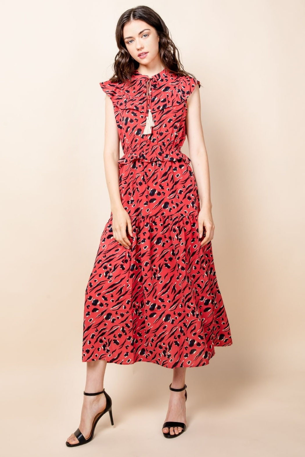 Thml Print Maxi Dress with Tassel - Front Full Image