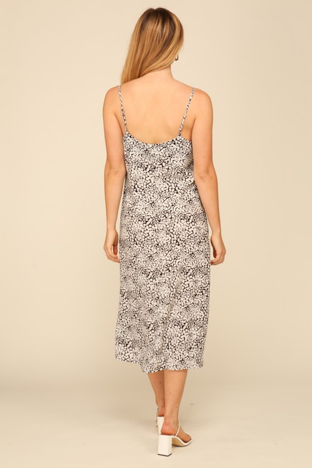 Timing Print Midi Slip Dress - Back Cropped Image