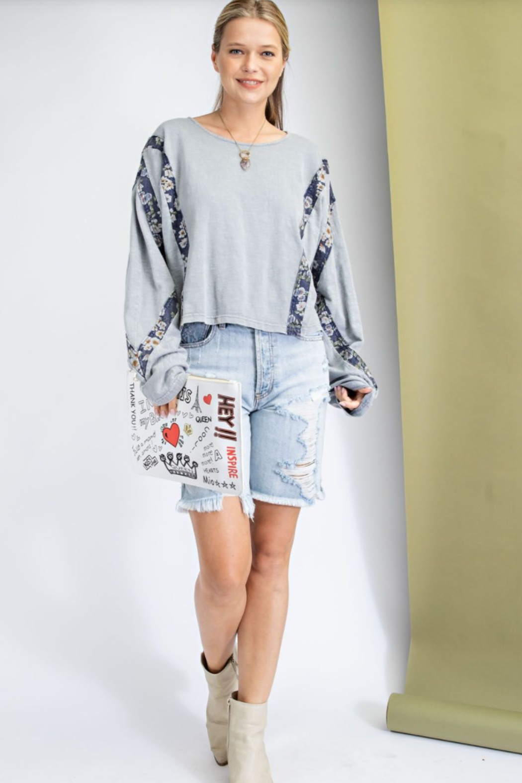 easel  Print Mix Washed Crop Top - Main Image