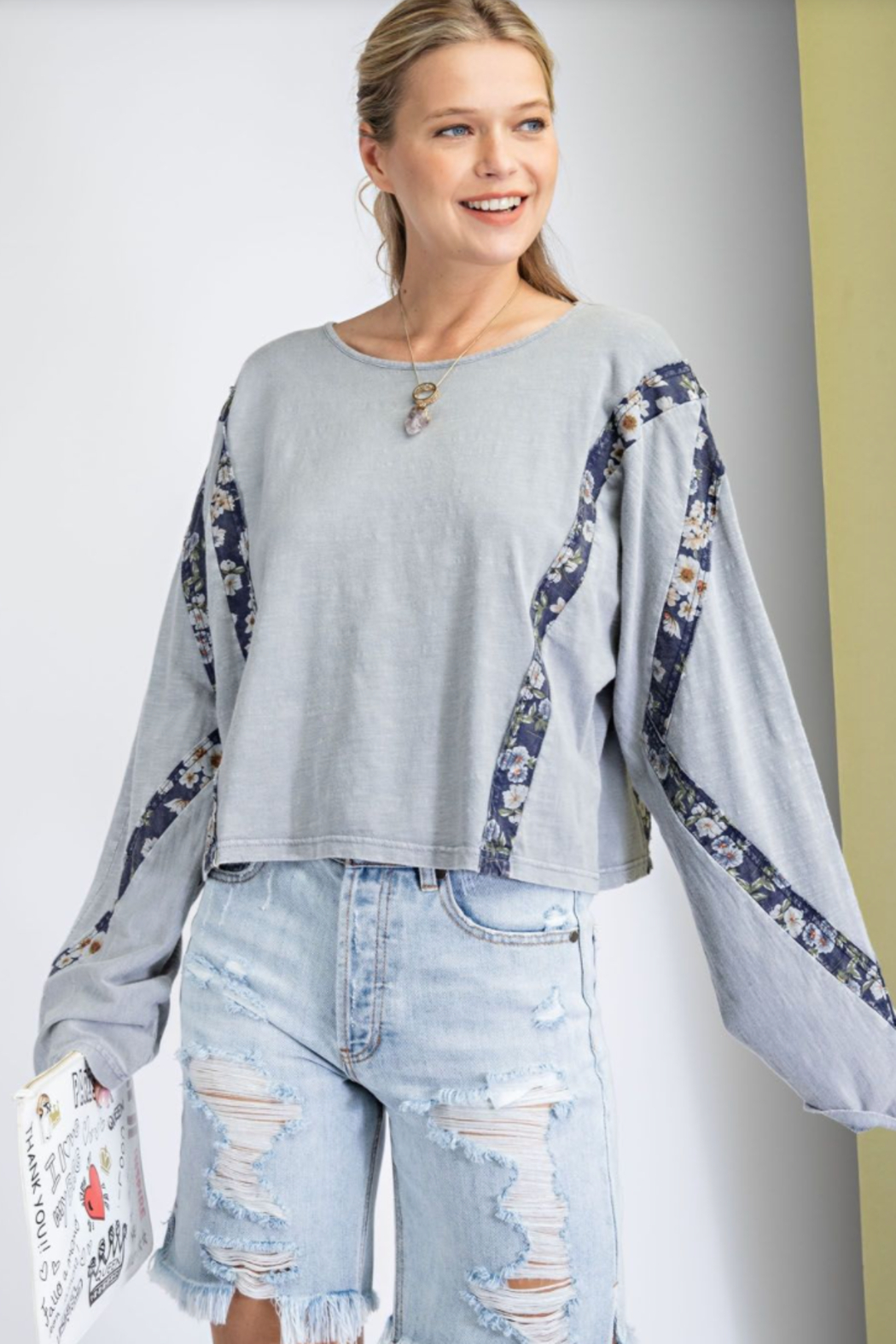 easel  Print Mix Washed Crop Top - Front Full Image