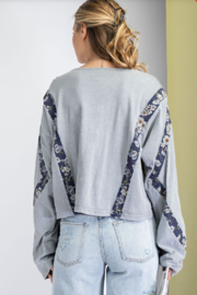 easel  Print Mix Washed Crop Top - Side cropped