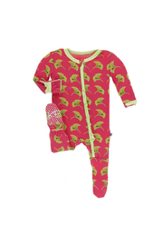 Kickee Pants Print Muffin Ruffle Footie With Zipper - Front cropped