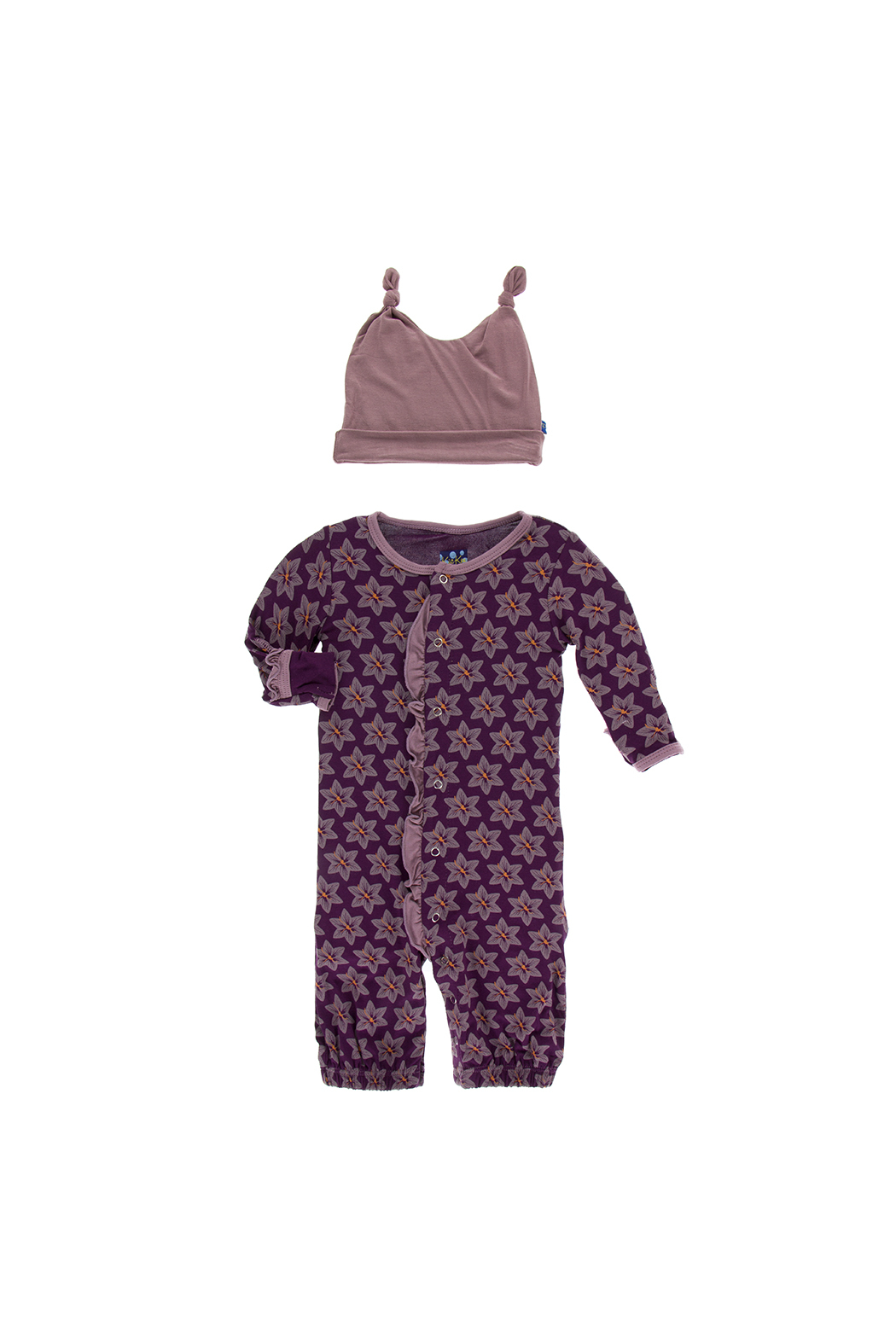 Kickee Pants Print Ruffle Layette Gown Converter and Double Knot Hat Set - Front Full Image